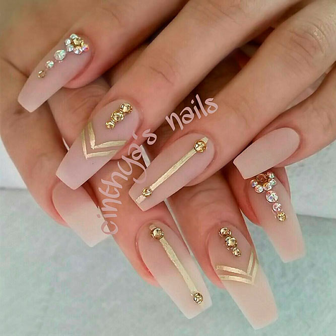 Matte Nail Designs With Rhinestones picture 1