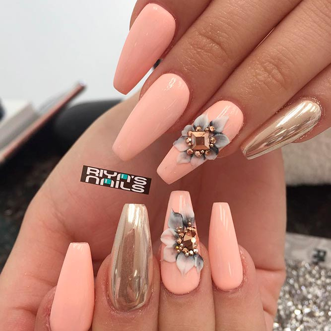 Rhinestones Nail Perfection With Floral Art picture 3