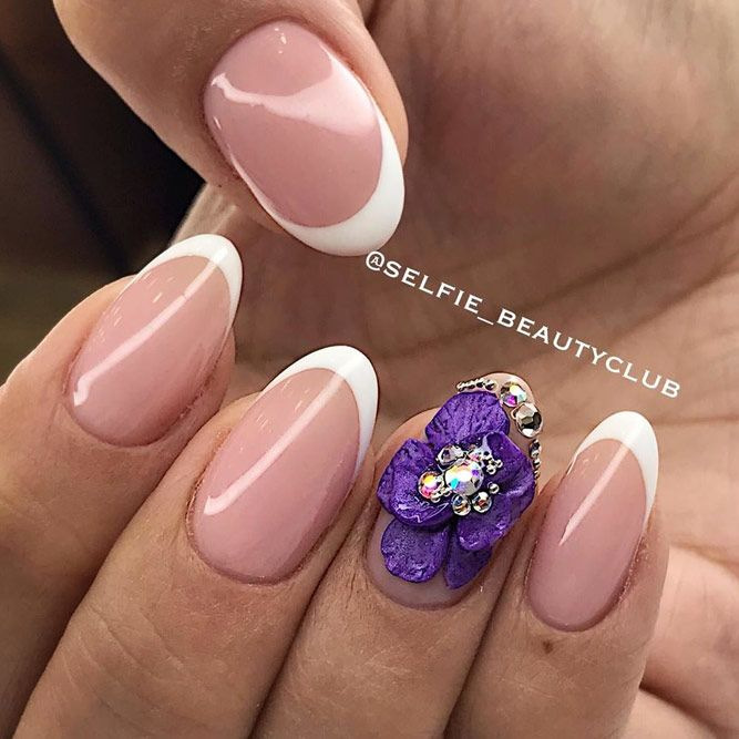 Rhinestones Nail Perfection With Purple Floral Art
