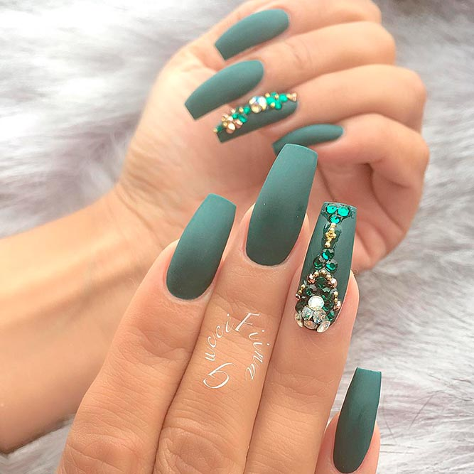 Matte Nail Designs With Rhinestones picture 3