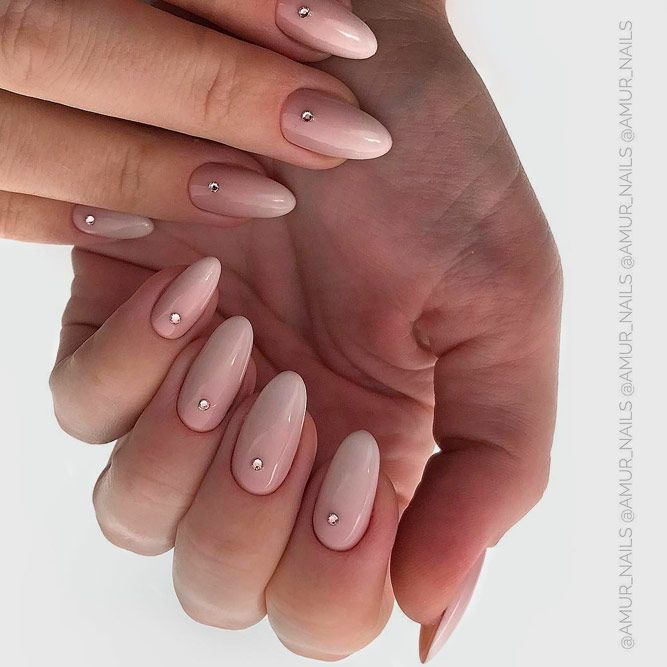 Simple Ombre Nail Art With Stones