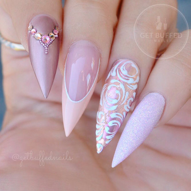 Elegant French Nail Art With Stones picture 2
