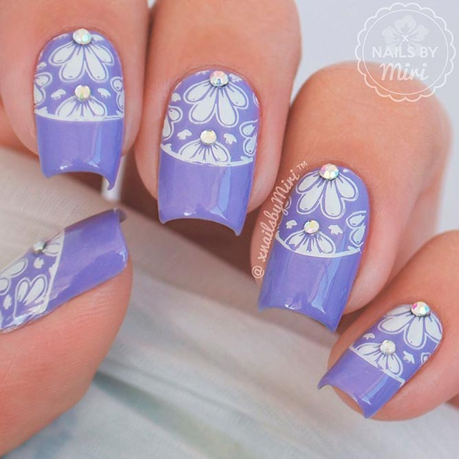 Rhinestones Nail Perfection With Floral Art picture 2