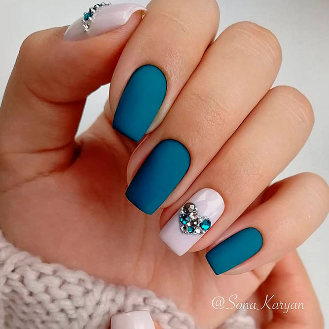 Matte Nail Designs With Rhinestones picture 2