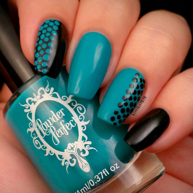Teal And Black Nails picture 3