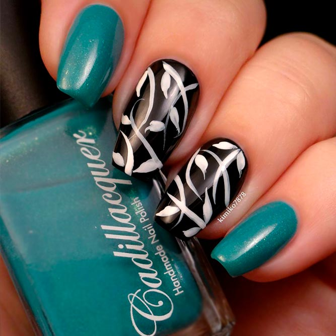 Teal And Black Nails picture 1