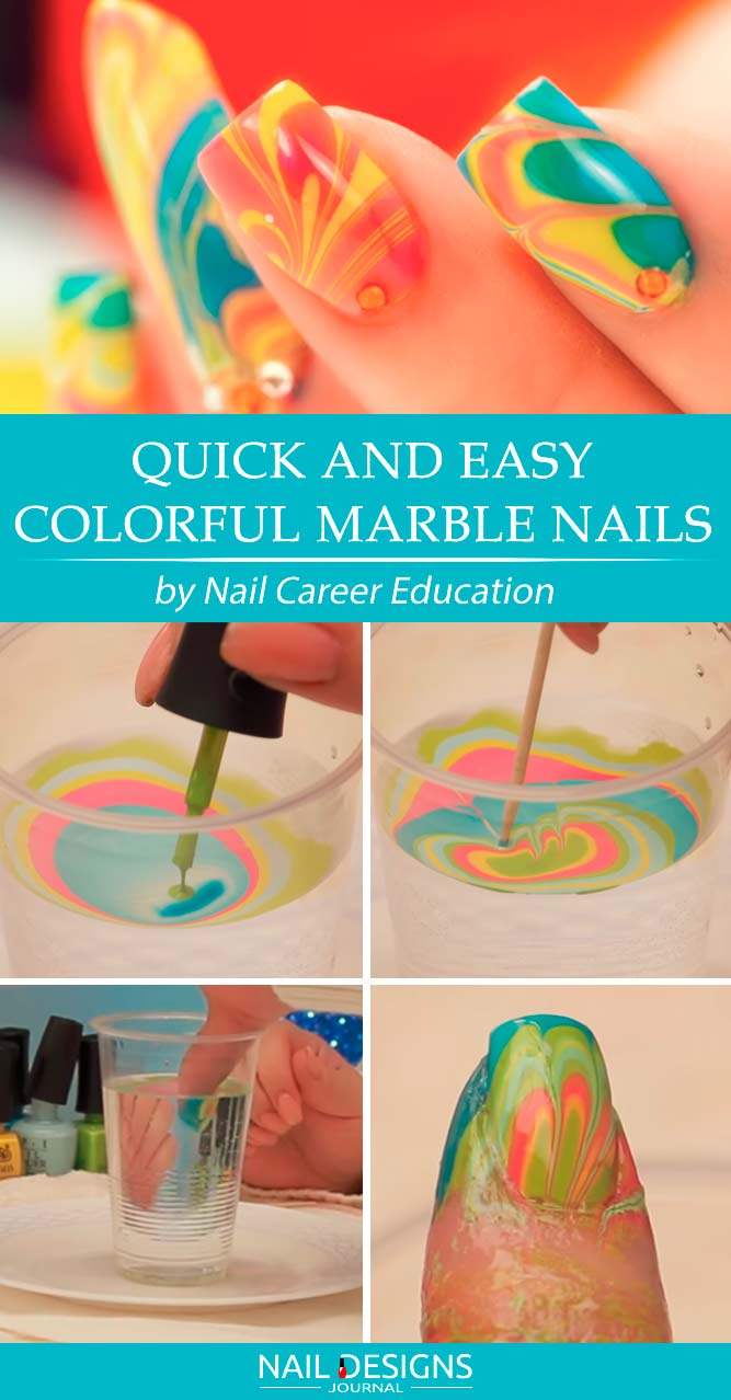 Quick And Easy Colorful Marble Nails