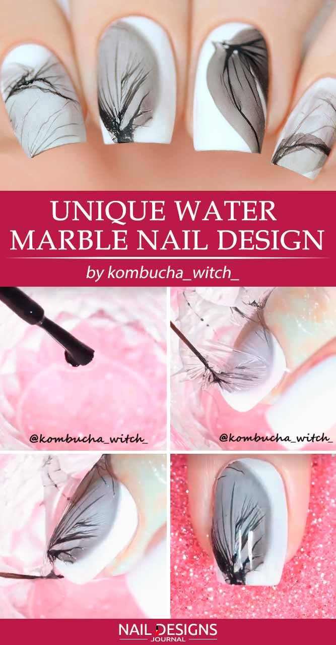 Unique Water Marble Nail Design