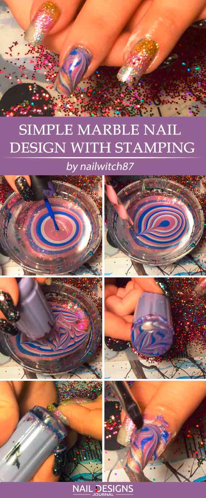 Simple Marble Nail Design With Stamping
