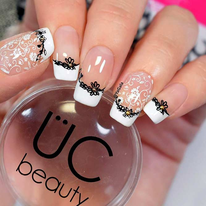 Classic Office French Nails With Beautiful Flowers