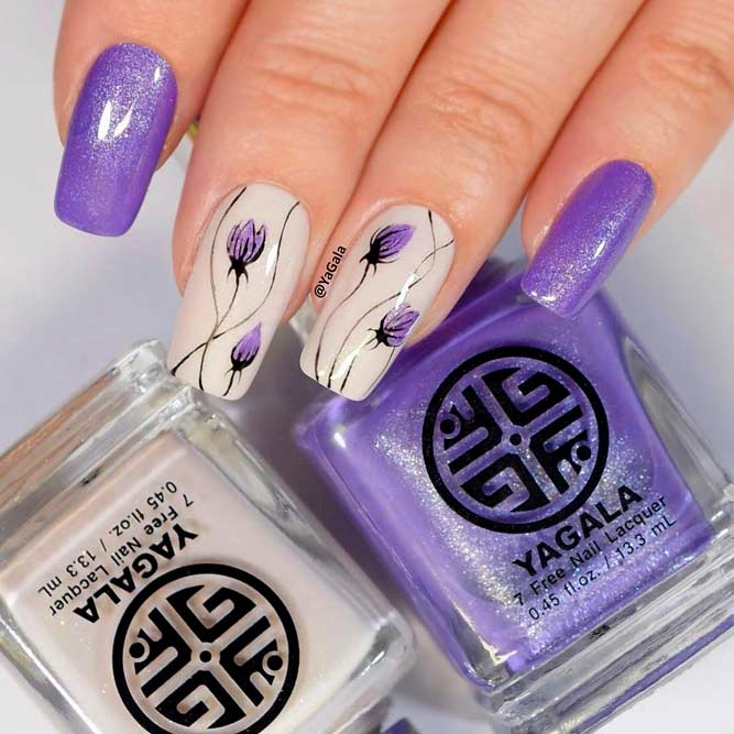 Popular Lilac Flower Nails For Fashion Girl
