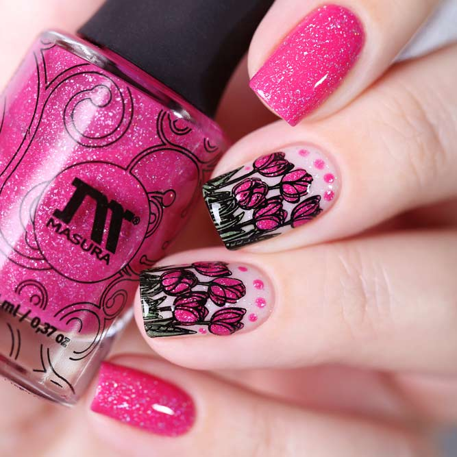Sexy Bright Pink Tulips Nails Art
