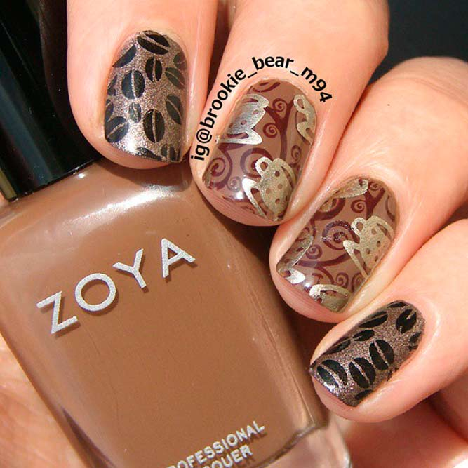 Stylish Coffee Nail Art Designs Broun Stamping Art #stampingnails #shortnails