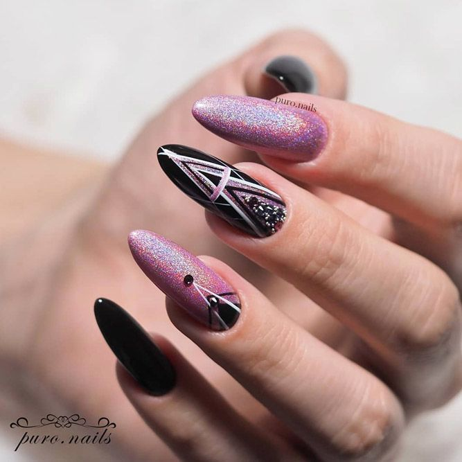 Black Geometric Nails Art With Pink Holo
