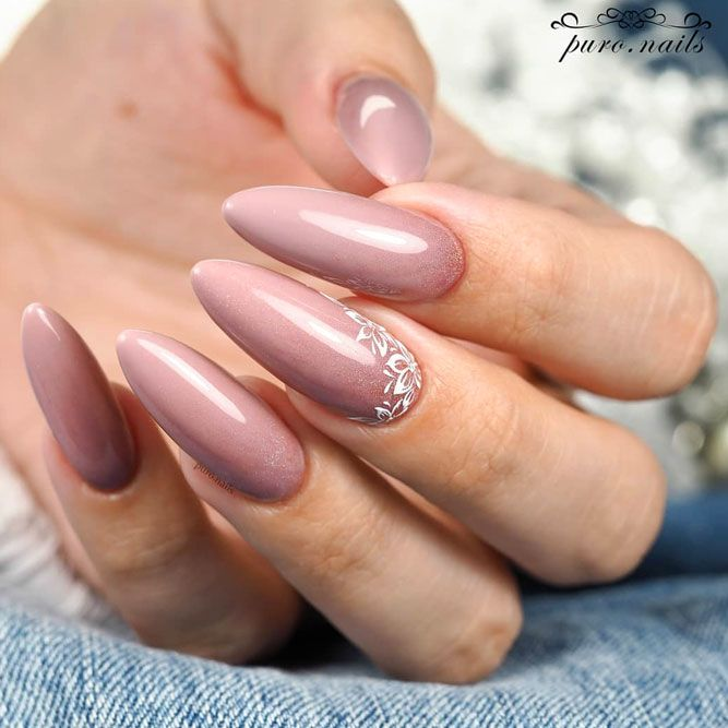 Simple Nude Nails With Flower Accent