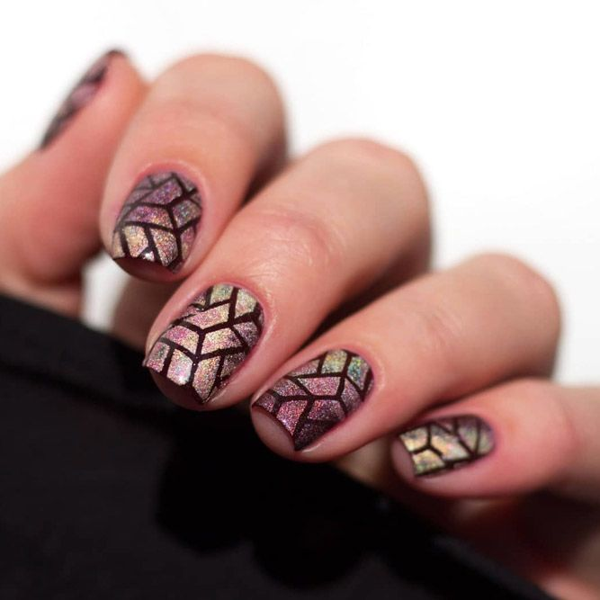 Nail Stamping With Holo Nails