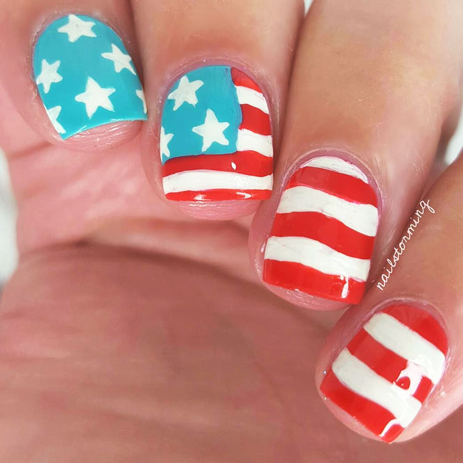 American Flag Nail Art picture 1