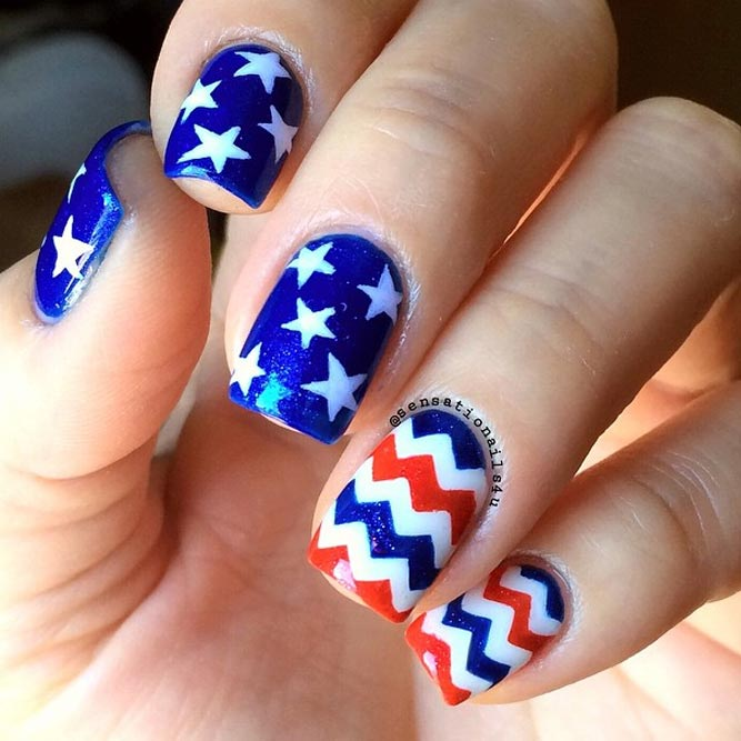 Memorial Day Nail Designs With Chevron Accents picture 1