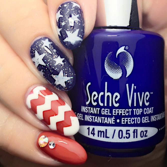 Memorial Day Nail Designs With Chevron Accents picture 3