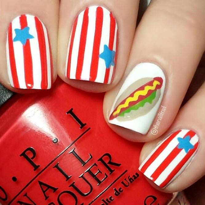 Square Nail Art With Vertical Stripes Design