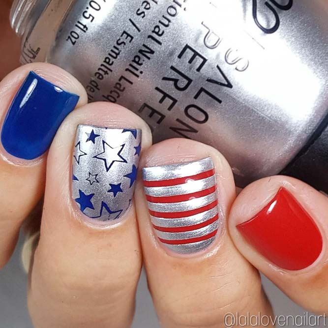 Cute Patriotic Nail Art With Metallic Shine picture 3