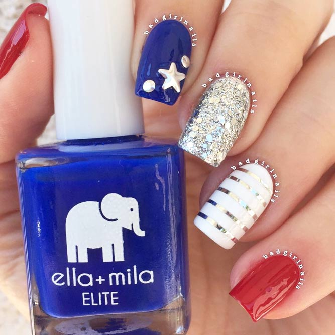 Cute Patriotic Nail Art With Metallic Shine picture 2