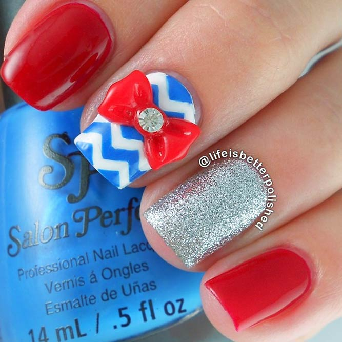 Memorial Day Nail Designs With Chevron Accents picture 2