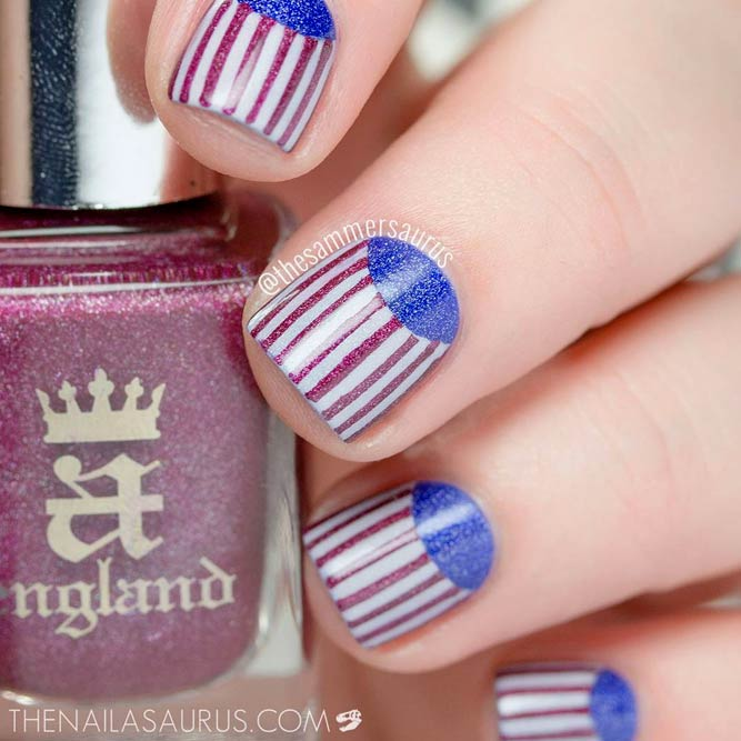 Patriotic Nail Art With Vertical Stripes Design