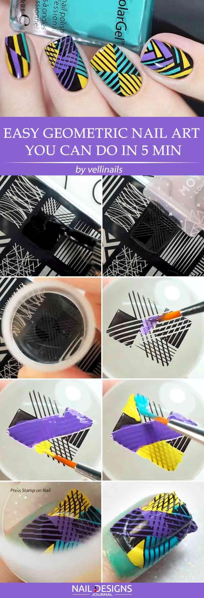 Easy Geometric Nail Art You Can Do In 5 Min