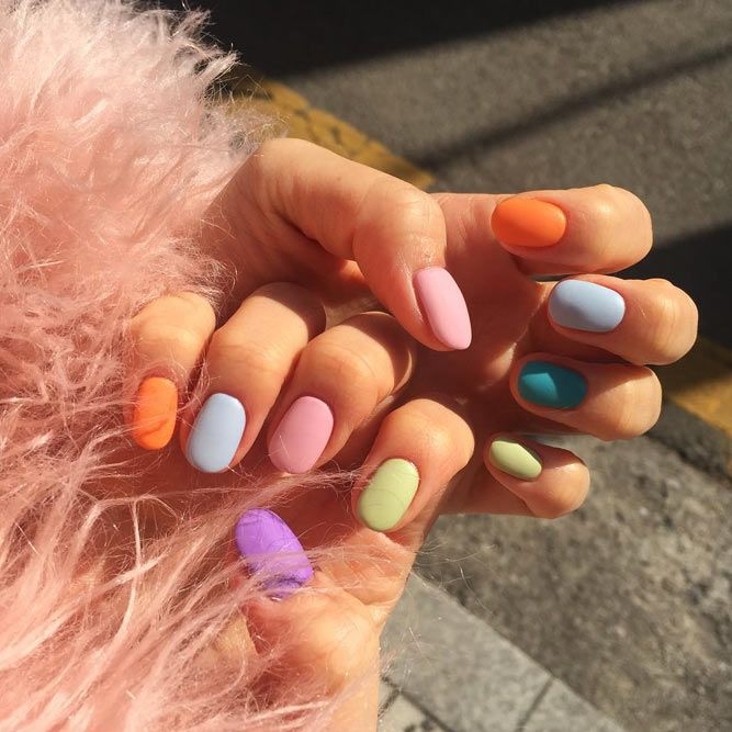 Matte Rainbow Like Summer Nails Colors