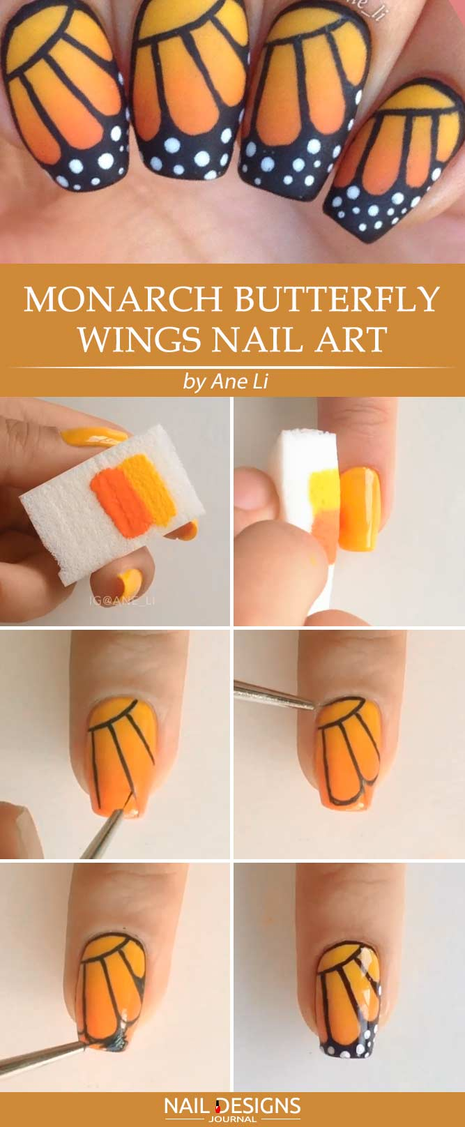 Monarch Butterfly Wings Nail Art In Simple Steps #ombrenails #shortnails