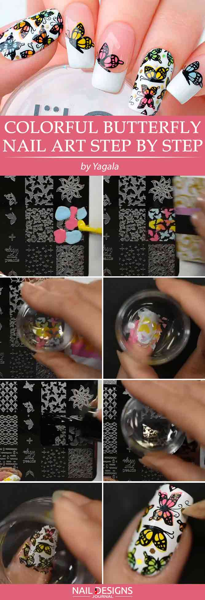 Colorful Butterfly Nail Art Step By Step #nailstamping