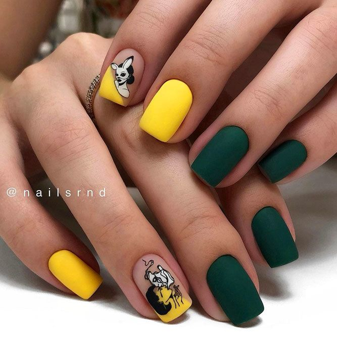Beautiful Sticker Nail Art With Emerald Green and Yellow