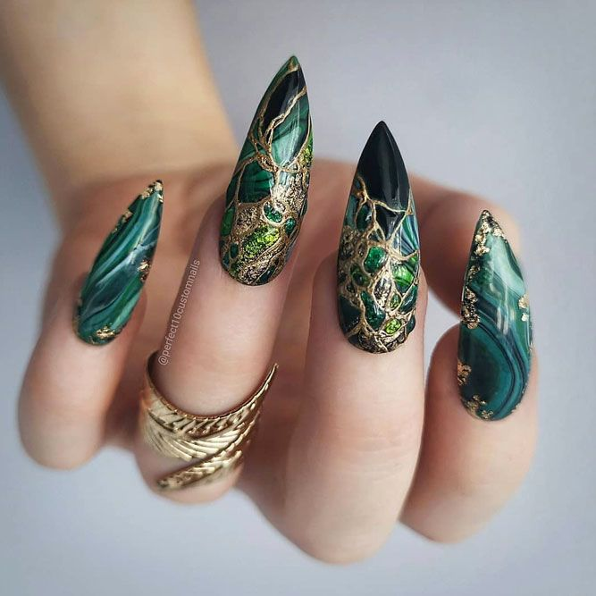 Combo Gold Foil Accent And Emerald Marble Nails