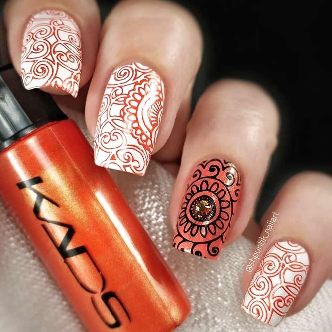 Mandala Art For Stunning Nails #orangenails #stampingnails #squarenails #longnails