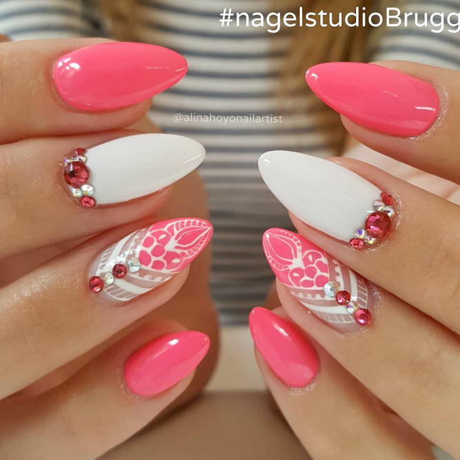 Mandala Inspired Designs With Summer Bright Colorful Nail Base #pinknails #rhinestones