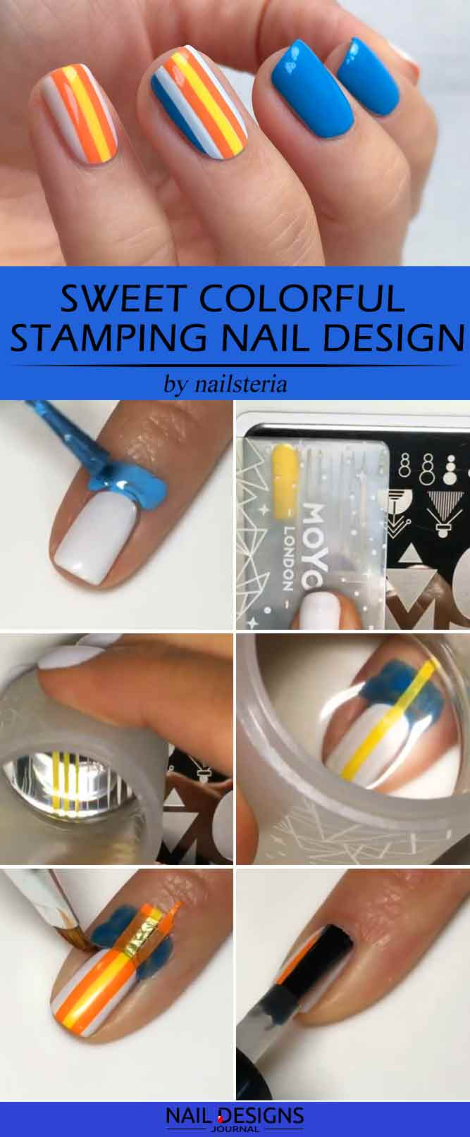 Sweet Colorful Stamping Nail Design