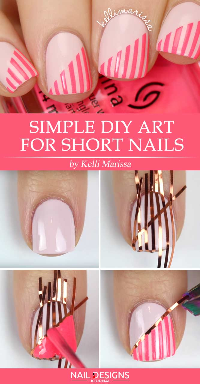 Simple Diy Art With Tape For Short Nails