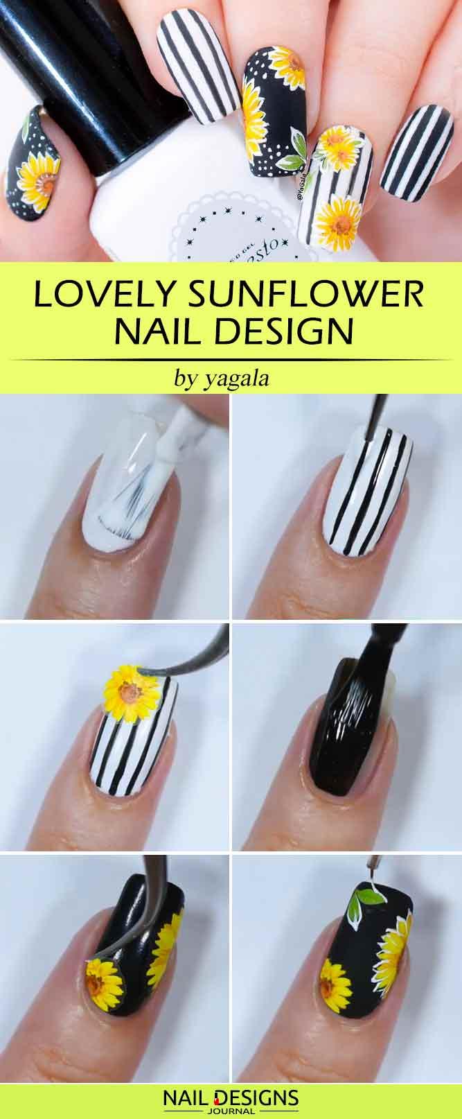 Lovely Sunflower Nail Design
