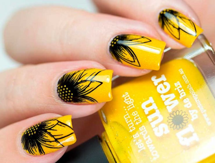 Creative Ways Update You Mani With Yellow Flowers Nail Art