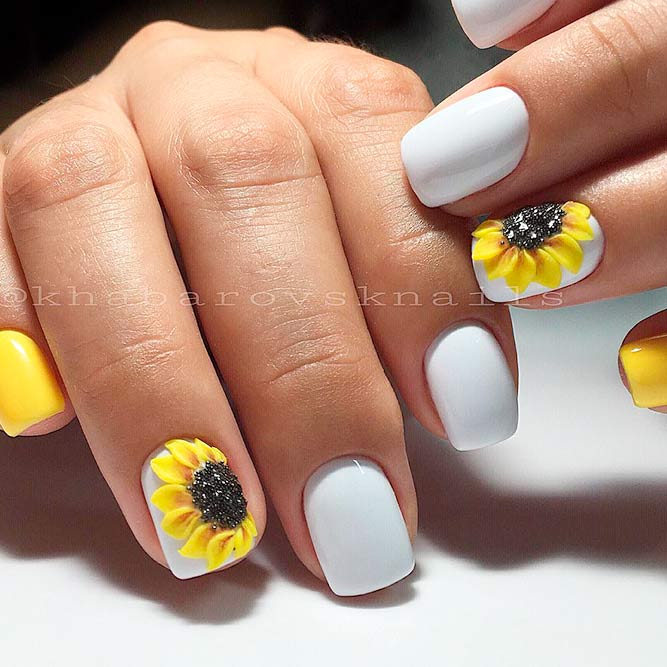 3-D Nail Art Designs With Sunflower