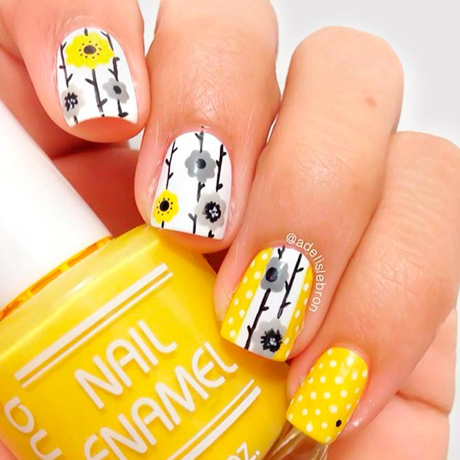 Yellow Flower Nail Art With Primrose