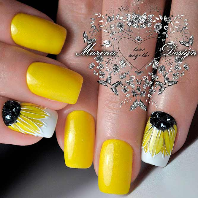 Yellow Summer Flowers Nail Art