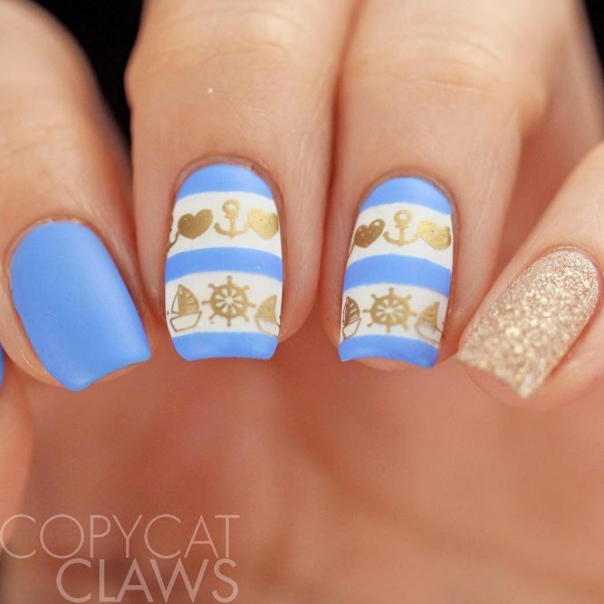Adorable Anchor Nails With Baby Blue