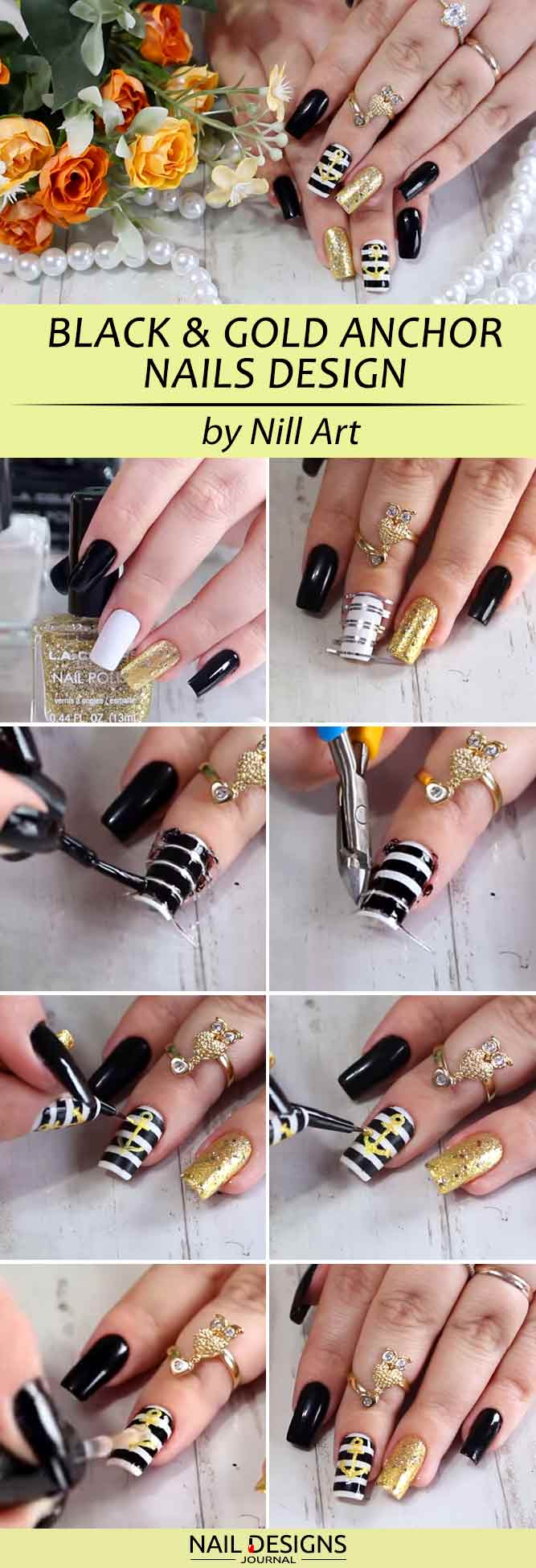 Black And Gold Combo With Hand Painting Anchor Nails Art