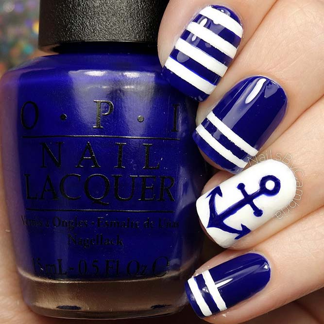 Best Blue And White Combo Nails Design