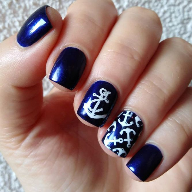 Dark Blue Nails Design