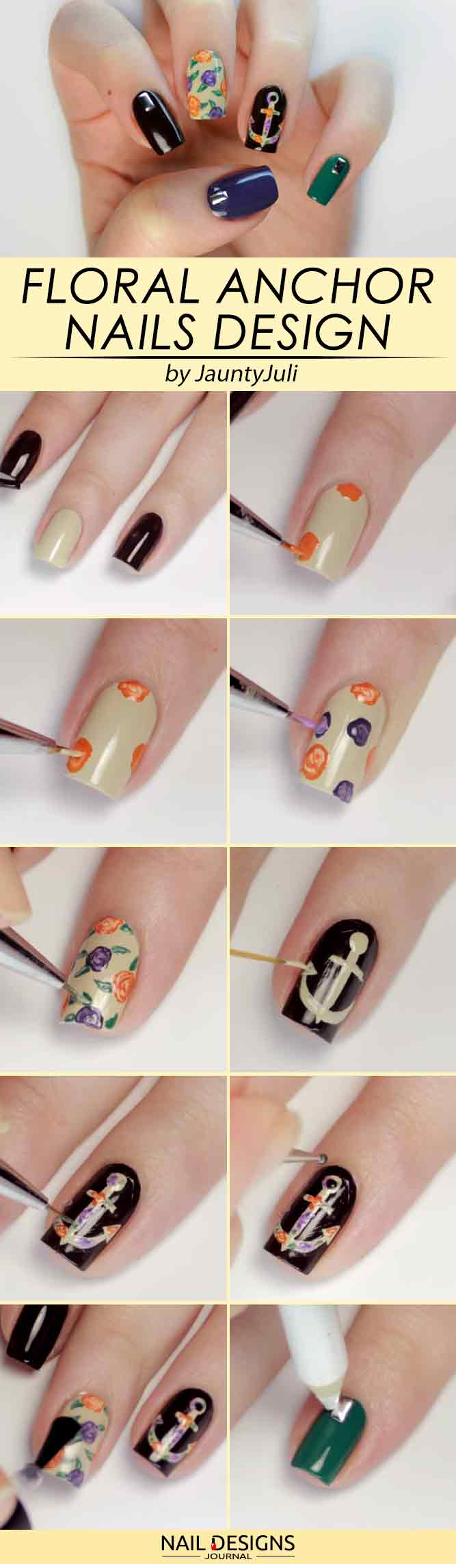 Beautiful Floral Anchor Nails Art #anchornails #flowernails