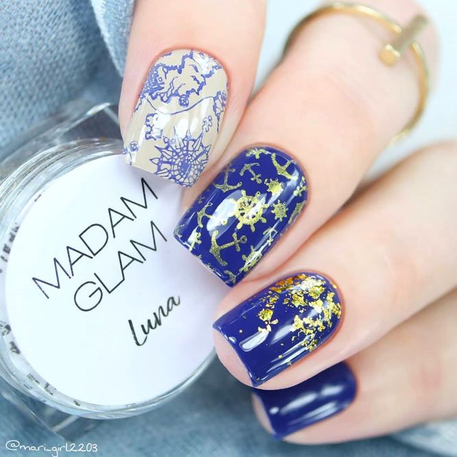 Anchor Nails with Gold Foil