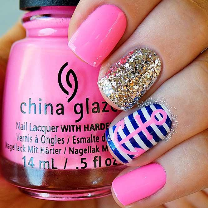 Girly Anchor Nails Design With Glitter Accent